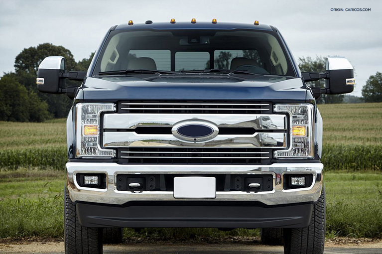 The front view of a Ford truck