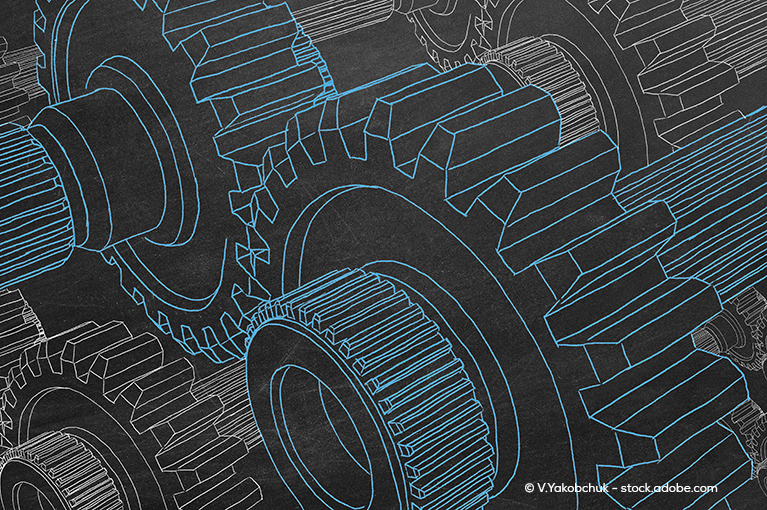 Blue and black illustration of gears inside transmission