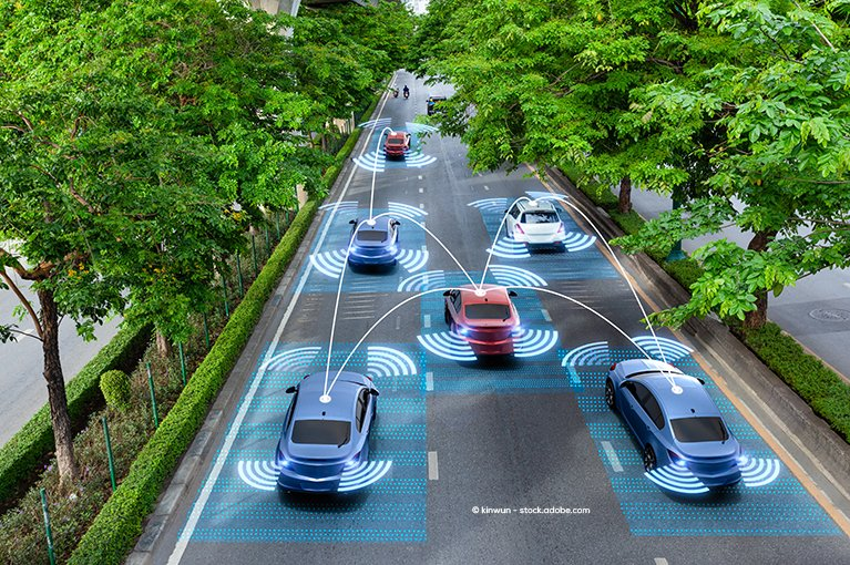 Several cars on the road, each one sensing the presence of other cars.