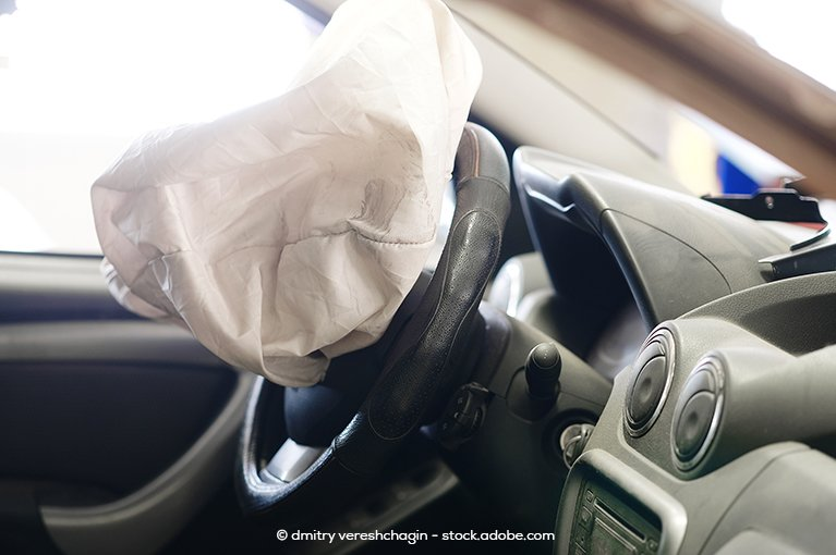 Alt text: A deployed airbag.