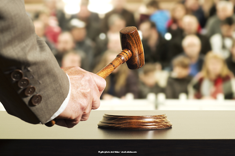Photo description: a judge is about to hit a gavel.