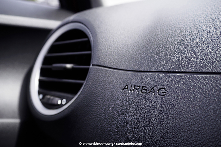 The airbag exterior inside a vehicle.