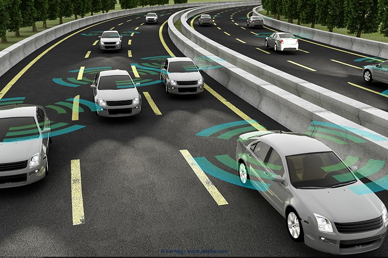 Several cars are sensing each others' presence using radar systems.
