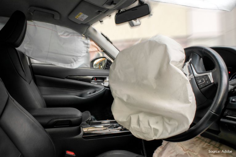 A partially deflated airbag.