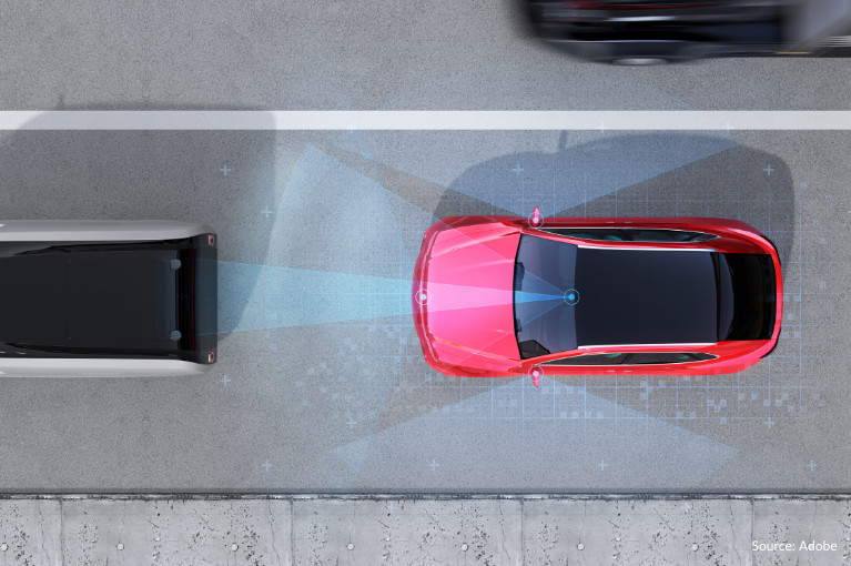 A red car uses radar to detect a vehicle in front.